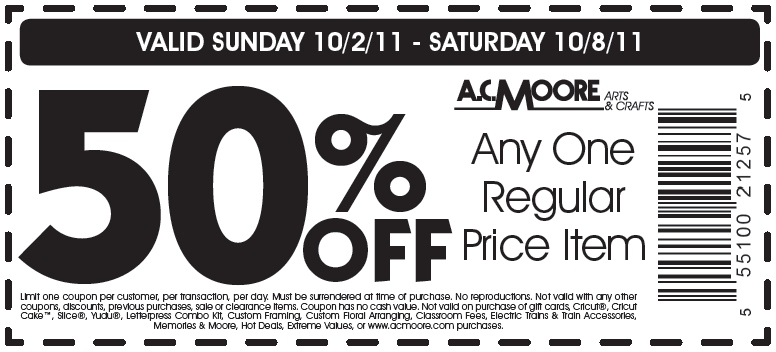 Ac moore in store coupon code
