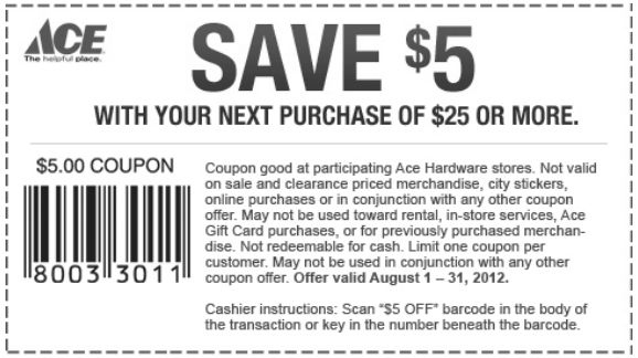 photograph relating to Ace Hardware Printable Coupons known as Ace Components Printable Coupon - Expires August 31, 2012