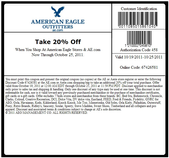 American eagle coupon code 2018
