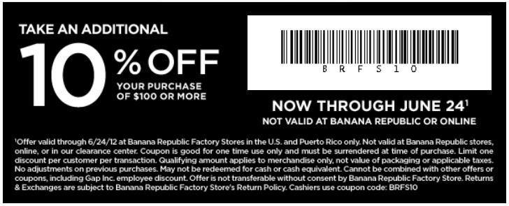 Banana republic in-store discount coupons