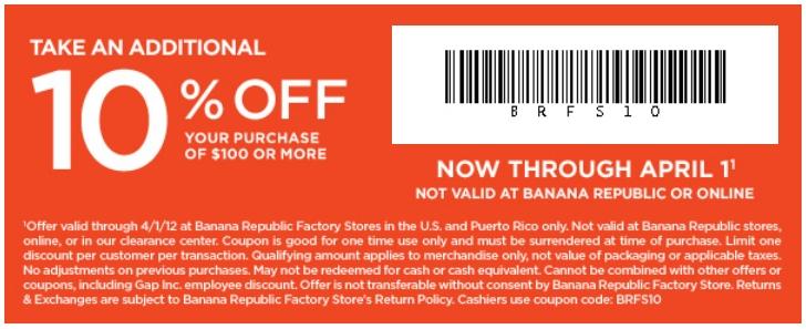 Banana republic factory coupon code