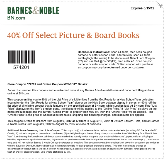 Barnes Amp Noble Printable Coupon Expires August 15 2012
