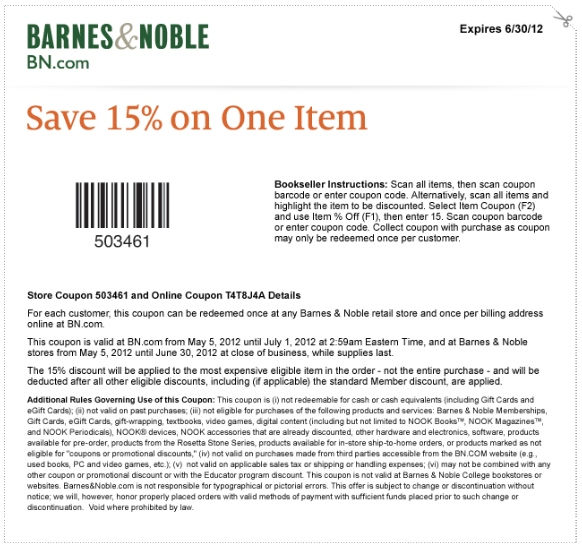 Barnes Amp Noble Printable Coupon Expires June 30 2012