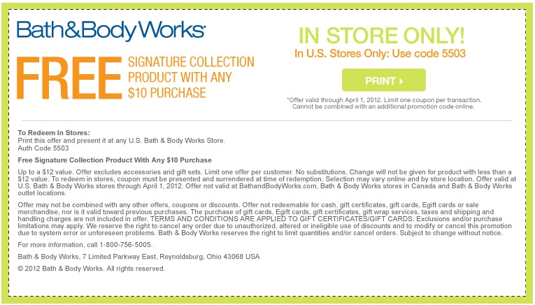 Bath and Body Works Printables