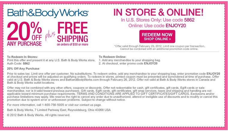 Dec 06,  · $10 Off Purchases Of $30 Or More Printable & Mobile: Print or show offer to cashier.. This Bath and Body Works coupon takes $10 off when you make an in store purchase of $30 or more.