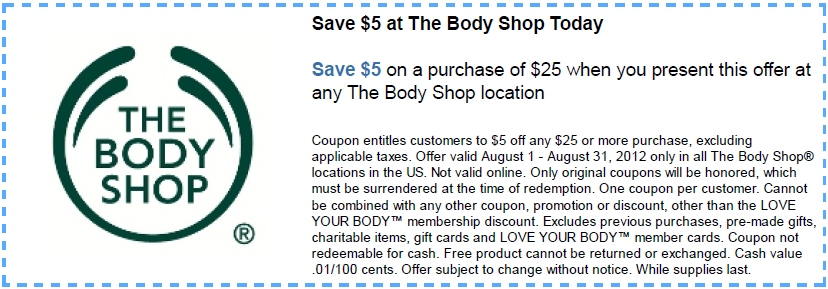 The body shop discount coupon