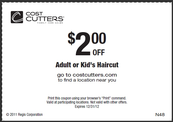 photograph relating to Cost Cutters Printable Coupons known as Charge Cutters Printable Coupon - Expires December 31, 2012