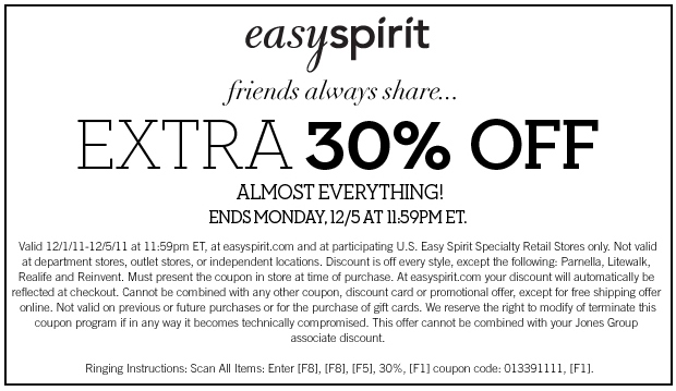 Complete list of all easy spirit Coupons for December guaranteed! Get 40% off with this Promo Code at easy spirit, Get 30% off with this Promo Code at easy spirit, Get 25% off with this Promo Code at easy spirit.