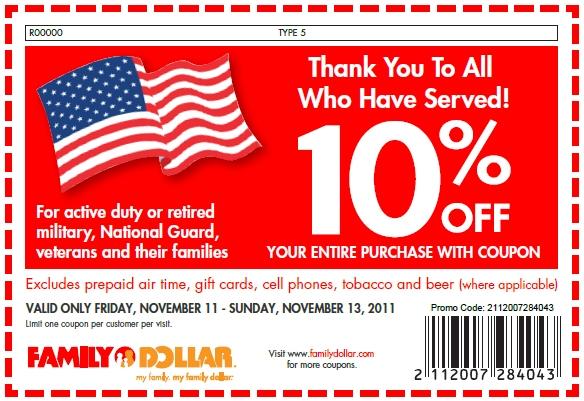 Dollar store coupon deals