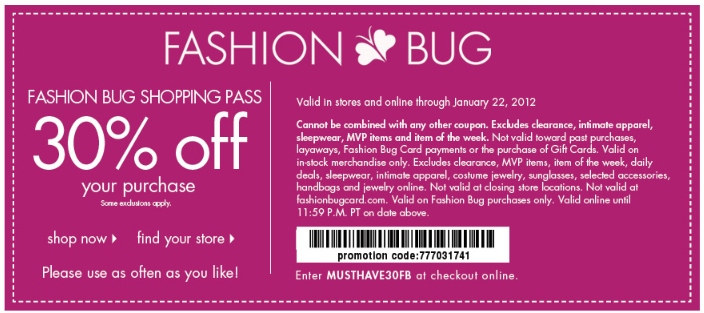 Fashion bug coupons