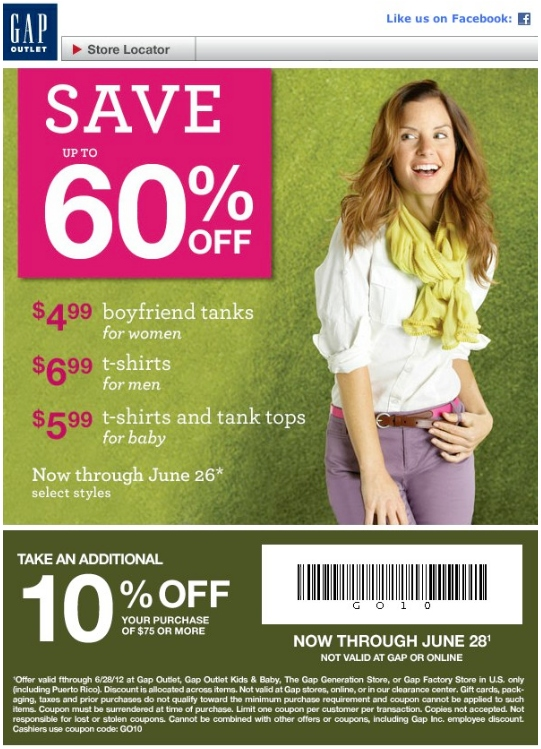 Gap Outlet Printable Coupon - Expires June 28, 2012