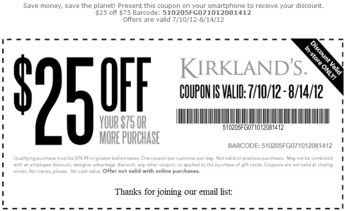 More Printable Coupons. Kirklands Printable Coupon   Expires August 14  2012