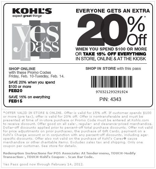 Kohls Printable Coupons