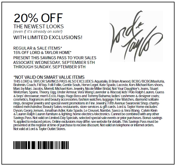 picture regarding Lord and Taylor Printable Coupon named Lord And Taylor Printable Coupon - Expires September 9, 2012