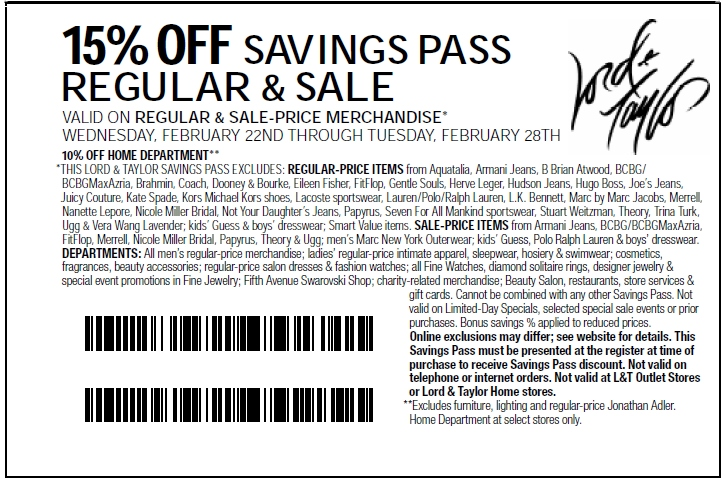 image regarding Lord and Taylor Printable Coupon identified as Lord and Taylor Printable Coupon