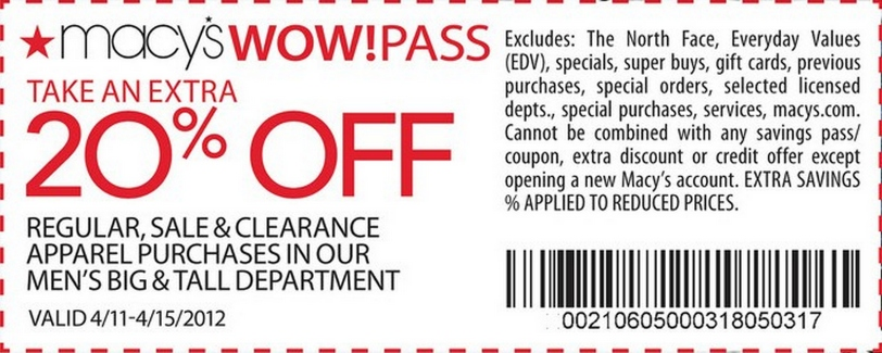 wow coupons at macys