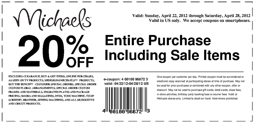 michaels 20 off printable coupon - Michaels Frames Coupons