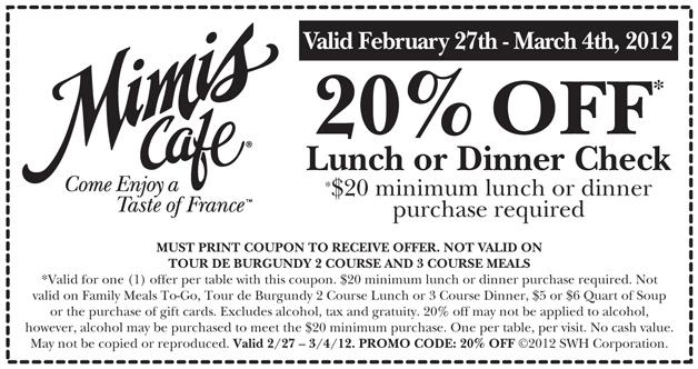 Mimis Cafe Printable Coupon