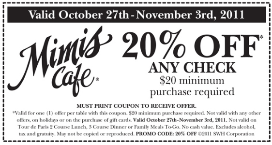photograph about Mimi's Coupons Printable referred to as Mimi restaurant coupon - Cafe reward certification promotions