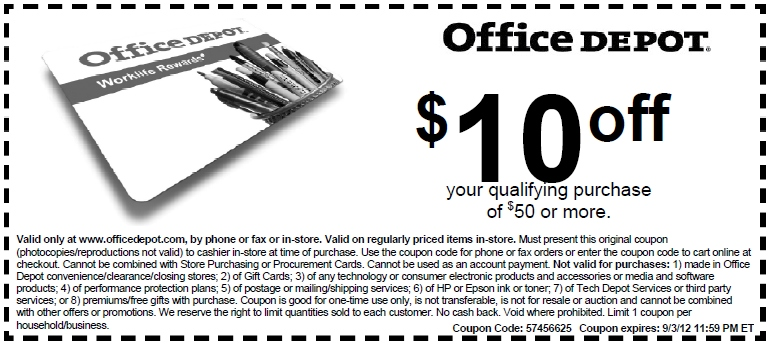 Office depot 10 off printable coupon expires september 3 2012 - Office depot business coupons ...