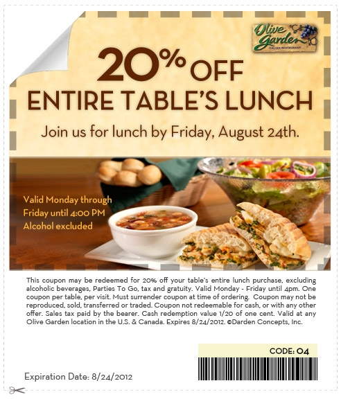 Olive Garden 20 Off Entire Table 39 S Lunch Printable Coupon Expires August 24 2012