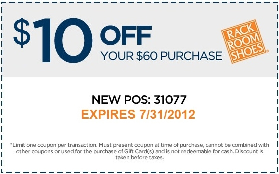Rack Room Shoes Printable Coupon - Expires July 31, 2012