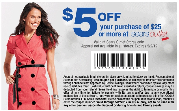 Sears Outlet 5 OFF Printable Coupon