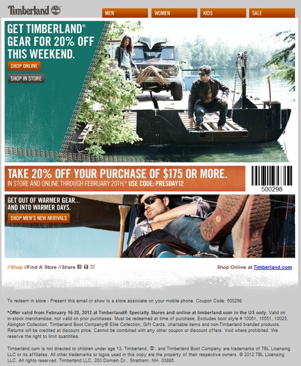 Timberland discount coupon