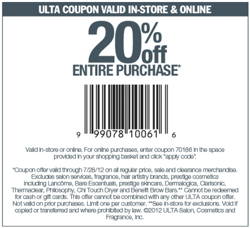 Ulta Printable Coupon - Expires July 28, 2012