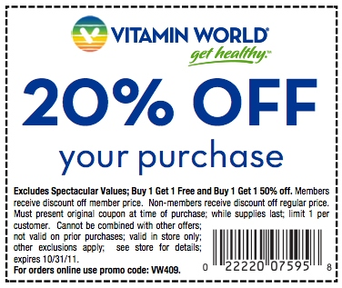 Vitamin discount center coupons