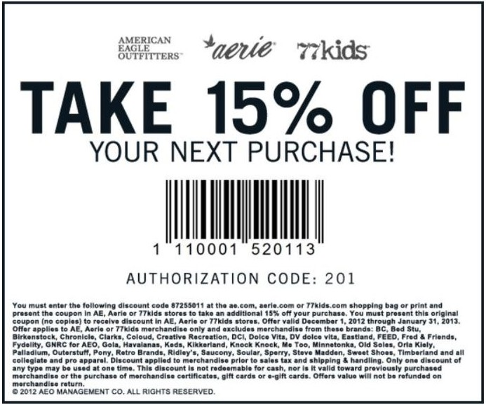 Aeropostale discount coupons printable