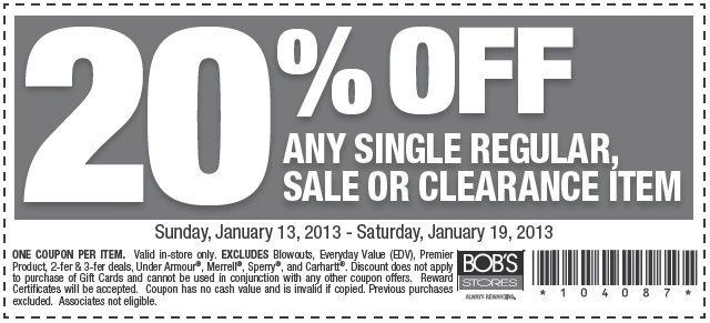 Bob's store coupon code