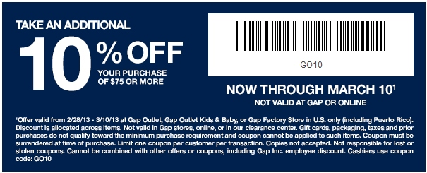 Gap clothing store coupons