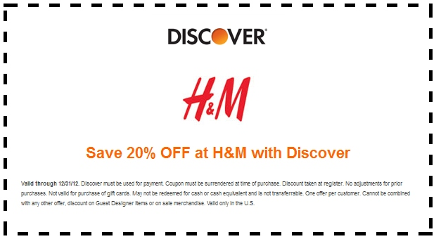 Available H&M Coupons and H&M Printable Coupons: Up to 60% off Weekend Specials [Exp. 10/06] 25% Off 1 Item + Free Shipping With Email Sign-up Expired H&M Coupons and H&M Printable Coupons: Up to 80% off Must Shop Sale 20% Off Kids When You Spend $60 + Free.
