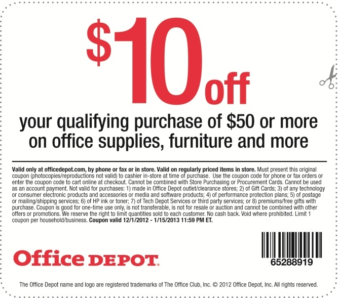 office depot 10 off printable coupon expires january. Black Bedroom Furniture Sets. Home Design Ideas