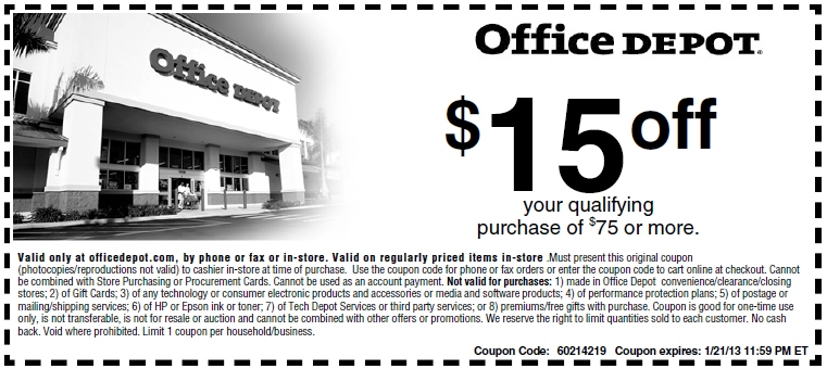 office depot 15 off printable coupon expires january. Black Bedroom Furniture Sets. Home Design Ideas