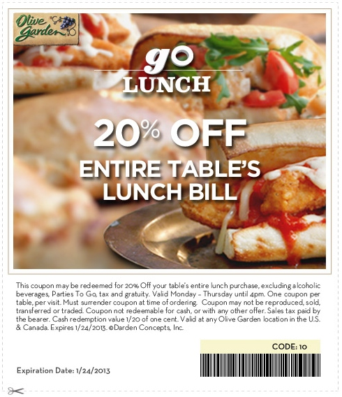 Olive Garden 20 Off Printable Coupon Expires January