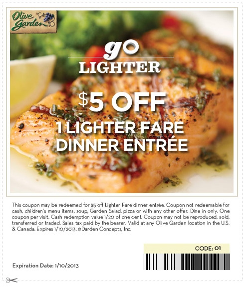 Olive Garden 5 Off Printable Coupon Expires January