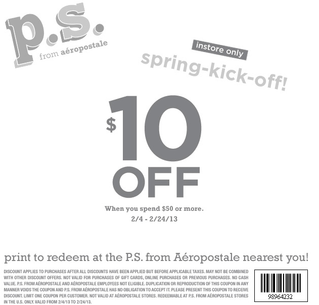 Ps aeropostale coupon code